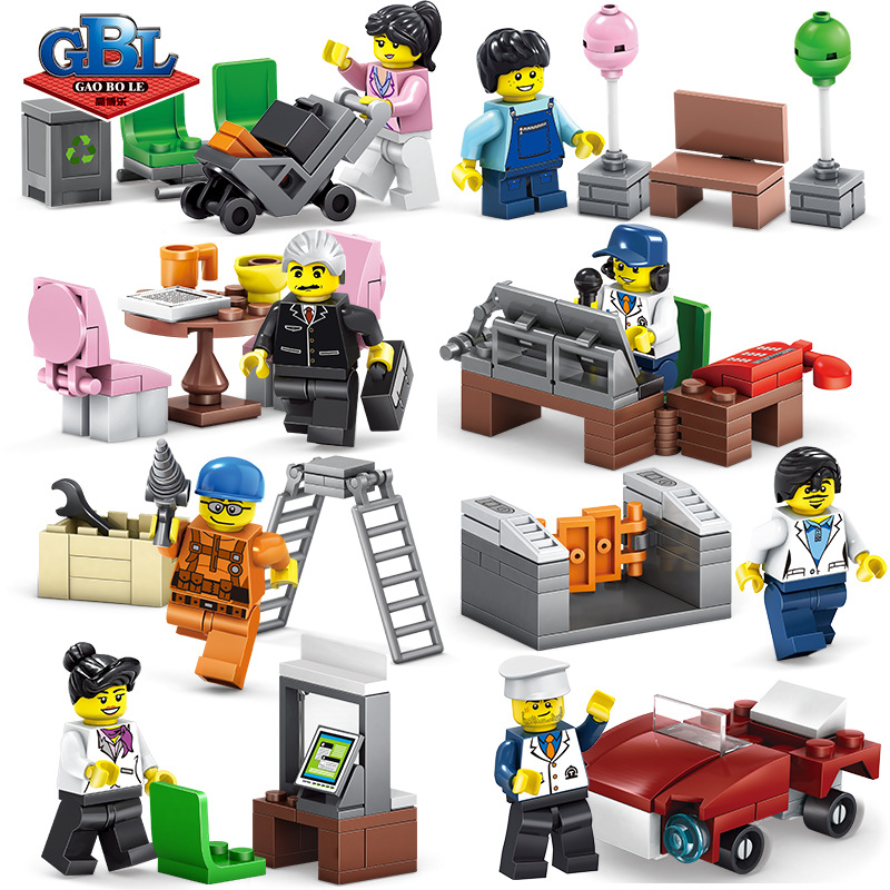 Careful 8 Pcs/lot City Town Community Character Career Role Play Building Blocks Sets Bricks Classic Model Kids Toys Compatible Legoings Blocks Toys & Hobbies