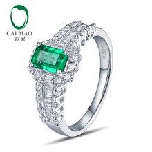 CaiMao 18KT/750 Белое золото 0,68 карат изумруд и 0,68 карат круглая огранка и багет бриллиант обручальное Драгоценное кольцо ювелирные изделия