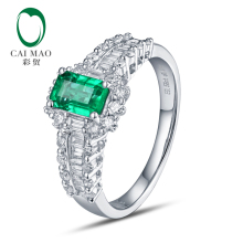 CaiMao 18KT/750 White Gold 0.68 ct Emerald & 0.68 ct Round Cut& Baguette Diamond Engagement Gemstone Ring Jewelry