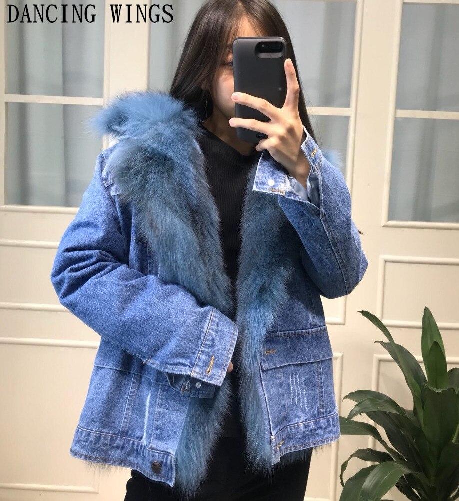 Женская мода синие джинсовые лисий мех короткая куртка натуральный мех парка зима толстые теплые женские повседневные джинсы пальто Верхн...