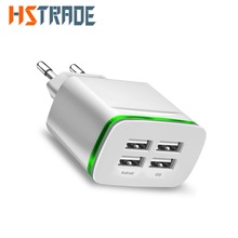 ФОТО hstrade usb charger for iphone samsung android 5v 4a 4-ports mobile phone universal fast charge led light wall adapter