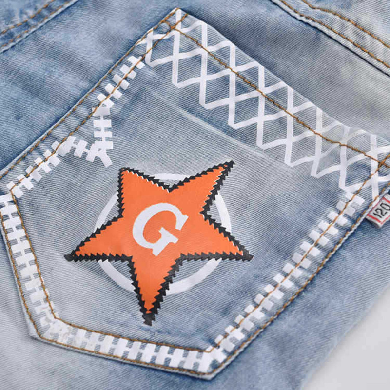 2020 hot summer design light blue star print kid short pants boys shorts elegant jeans denim shorts for teen children 3-13 years 4