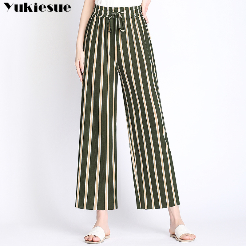 streetwear summer 2019 pleated striped women's female high waist wide leg   pants     capris   for women trousers woman Plus size