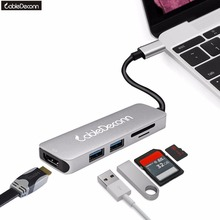 Thunderbolt 3 Hub USB-C USB 3.1 Type C to HDMI 4K 30Hz 2xUSB3.0 Hub TF SD Card 5IN1 Cable Mini Adapter for Macbook Pro 2017