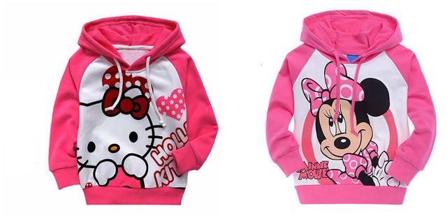 Baby Дети Девушки Детей С Капюшоном Толстовки Hello Kitty Топ Дети Clothing Набор Костюм 0-6Y Одежда