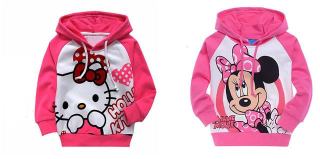O bebê caçoa a menina crianças hoody hoodies olá kitty crianças top clothing set suit roupas 0-6y