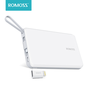 ROMOSS QS05 5000mAh Power Bank With Built-in Micro USB Cable External Battery Pack Travel Size Portable Charger For iPhone