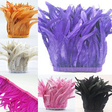 ChengBright 10 Yards 10 12 inch Width Rooster Tail Feather Trim Coque Feather Trimming For Crafts Dress Skirt Costumes Plumes