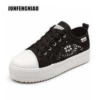JUNFENGNIAO Women Shoes Summer Casual Recortes Zapatos de Lona Del Cordón Floral Hueco Transpirable Plataforma Plana sapato feminino SQL-A03