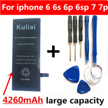 Batterie au Lithium Kuliai pour Apple iPhone 6P 6 7 6S 7P Batteries de remplacement téléphone interne Bateria 4260mAh + outils gratuits