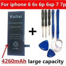 Kuliai リチウムバッテリー Apple の Iphone 6P 6 7 6S 7 1080P 交換電池内部電話 Bateria 4260 2600mah の + 無料ツール