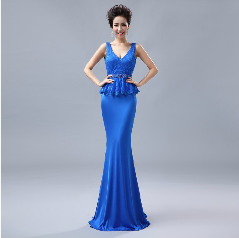 Распродажа, кружевные, v-образная горловина, вечерние платья строгое длинное вечернее платье vestido de festa; robe de soiree Abendkleider H0533 - Цвет: Cobalt