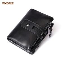 Head layer cowhide retro short wallet male trend 2 fold black leather wallet for men