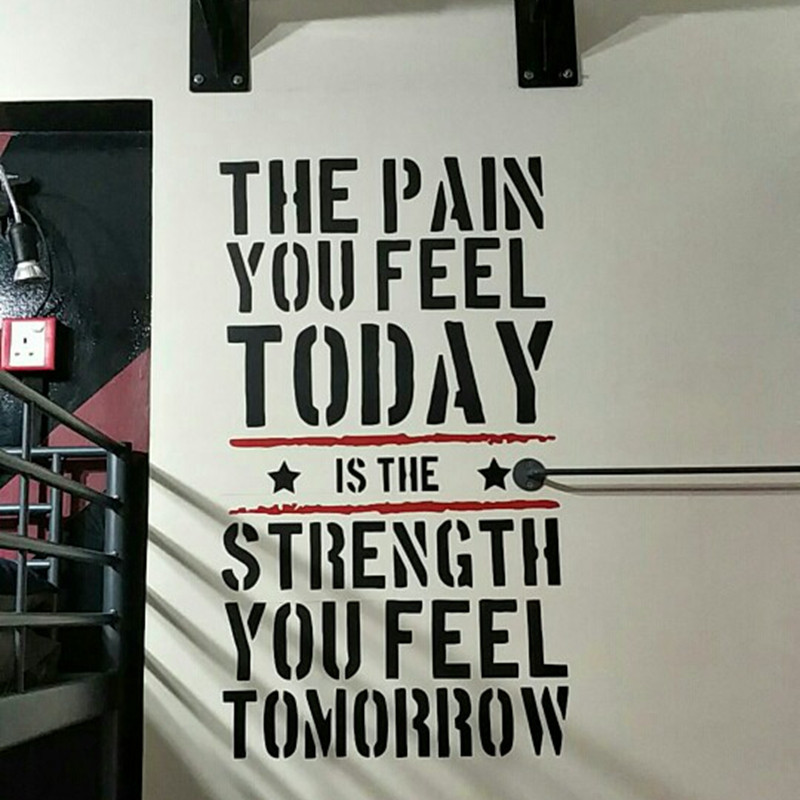 The Pain you Feel Today... Home Fitness Gym Wall Sticker Strength Workout Vinyl Wall Art Mural Decals Room Decorations