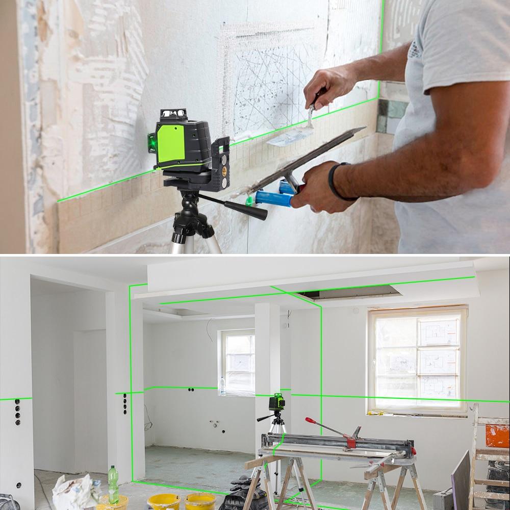 Image 5 - Huepar 12 líneas 3D Cruz Rayo verde láser de línea nivel autonivelante 360 grados Vertical y Horizontal carga USB con gafasNiveles láser   -