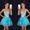 Cielo Azul Galajurken Tul Corto Sexy Vestidos de Baile 2017 Sin Tirantes de Lentejuelas de Cristal vestidos de baile de Noche Formal Vestidos Del Partido