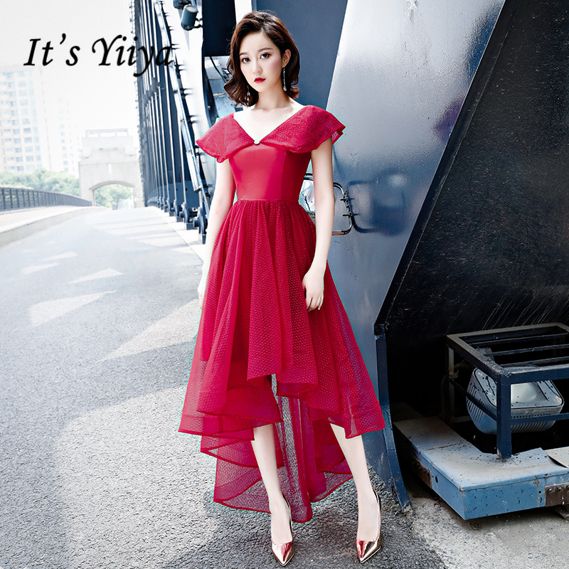 It's YiiYa Cocktail Dresses V-neck Short Sleeves Party Gown Elegant Lace Up Illuesion High Low Length Formal Dress E384