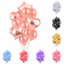 Sweet Smile 14Pcs Rose Gold Pink Red Latex Ballons 2 Hearts 2 Stars Foil balloon Bouquet Wedding Party Decoraciones para fiesta(China)