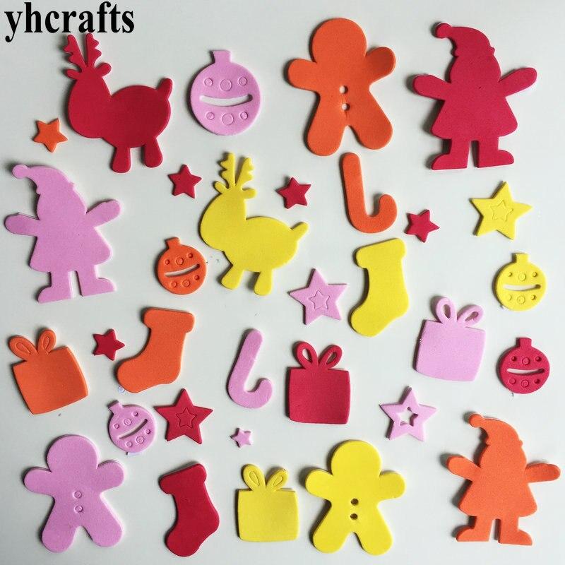 1 пакетов/лот, снежинка, рождественские наклейки из пены для раннего обучения, Обучающие поделки, diy игрушки, детская комната, орнамент, цветная обучающая креативная OEM