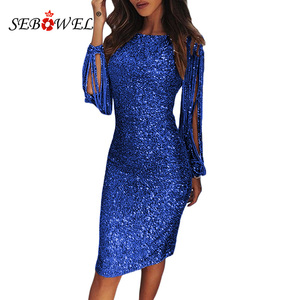 Image 2 - SEBOWEL Silver Hollow Out Long Sleeve Sequin Party Dress Women Sexy Metallic Glitter Bodycon Club Midi Dresses Sequined Gowns