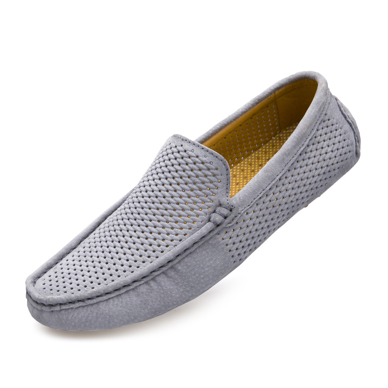 PU Suede Leather Shoes Man Loafers Summer Breathable Mesh Slip On Casual Shoes Men Flats Driving Shoes Zapatillas Hombre T030301 fashion nature leather men casual shoes light breathable flats shoes slip on walking driving loafers zapatos hombre