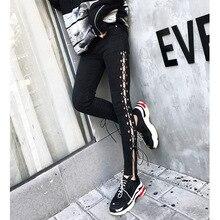 Spring New Thai Street Fashion Side Tie Rope Hollow Women Denim Pants Stretch Leggings Pencil