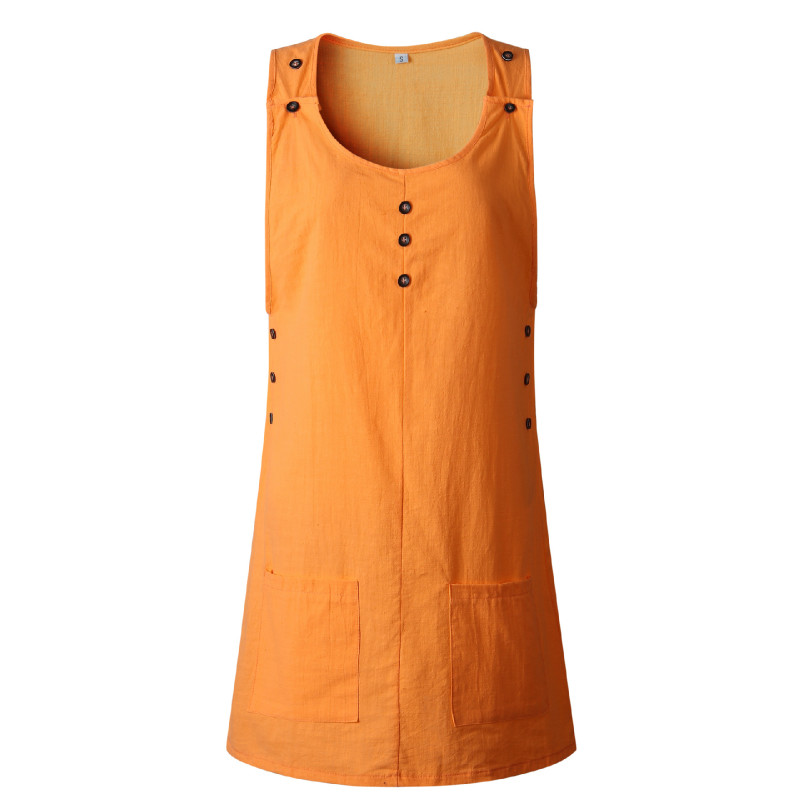 Summer Sleeveless Solid Color Casual Sun Dress Women Cotton Pocket Button Dress in Dresses from Women 39 s Clothing