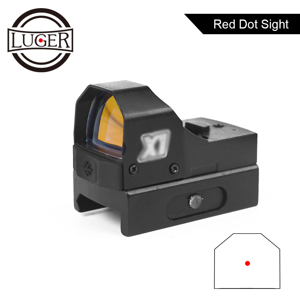 LUGER Red Dot Sight RMR Tactical Compact Mid Dot Reflex Collimator Sight Outdoor Hunting Airsoft Pistol Rifle Scope Optic Sight