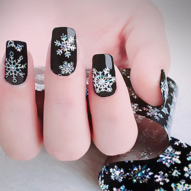 New Arrival 100x4cm Nail Foils Laser Glitter Snowflakes Adhesive
