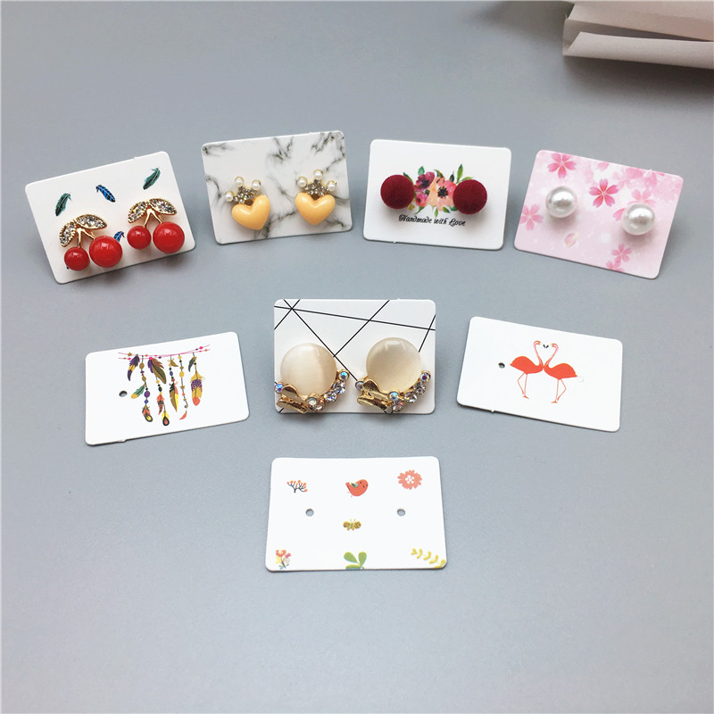 100PCS 3.5*2.5cm multi color Paper cute Stud earring HangTag card custom logo cost extra Jewelry Display packing Earrings Card image
