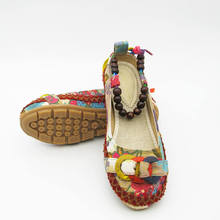 Plus size42 Casual Flat Shoes Women Flats Handmade Beaded Ankle Straps Loafers Zapatos Mujer Retro Ethnic Embroidered Shoes000