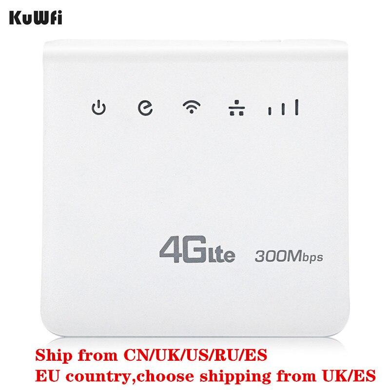 KuWFi 300Mbps Router 4G LTE CPE Router Móvel Wi-fi Hotspot Router 2.4GHz WFi Com Lan Sem Fio Indoor porta Slot Para Cartão SIM