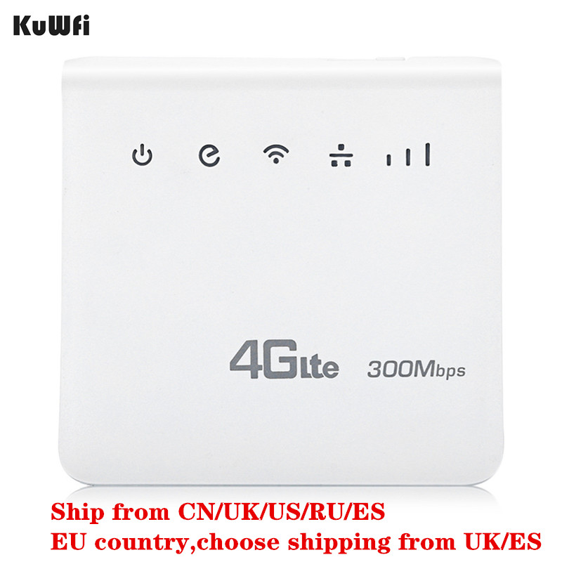 KuWFi Unlocked 300Mbps 4G LTE CPE Mobile WiFi Wireless Indoor Router 2.4GHz WFi Hotspot With Lan Port SIM Card Slot