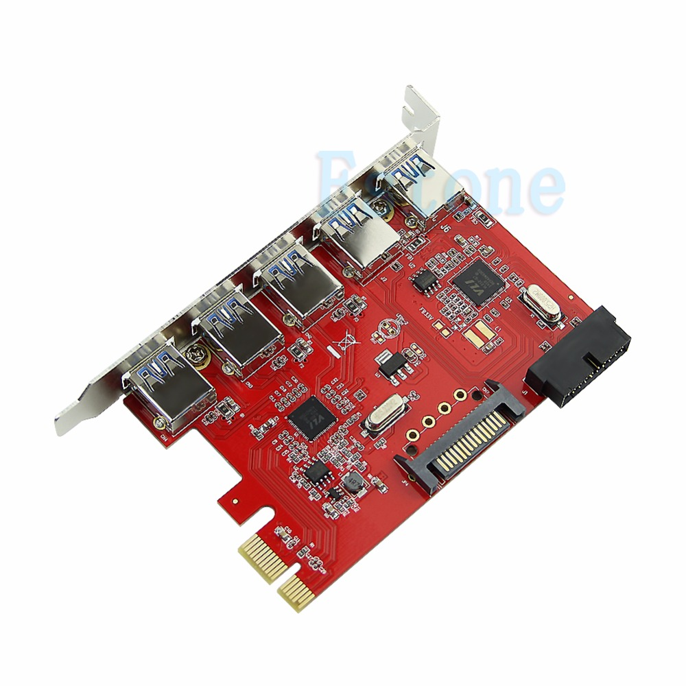 5 Port USB3.0 HUB To PCI-E Express Card Adapter 20pin 15pin SATA for XP WIN 7 8