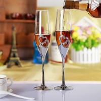 De mariage amant Cristal Champagne Vigne Tasse avec coeur gravure Champagne 200 ml Cristal Rouge Verre À Vin Boire Décoratifs Tasse