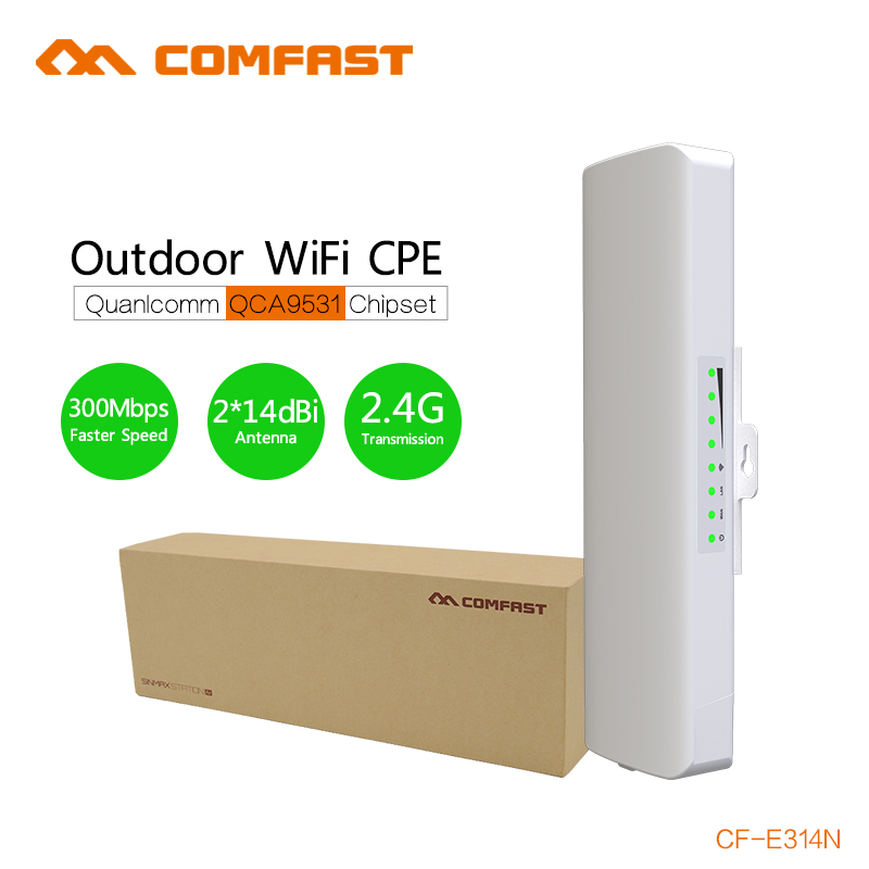 300M wireless bridge wifi repeater 2km trsnsmission rate comfast CF-E314N wireless Outdoor ap CPE Nanostation support IP camera беспроводной маршрутизатор phicomm fir303c 300m ap