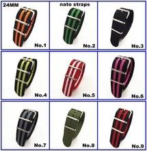 ¡Gran oferta! Correa de reloj de nailon de alta calidad, 10 unidades por lote, correas NATO zulu de 24MM, resistente al agua, 10 colores