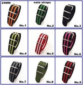 Image 1 - ¡Gran oferta! Correa de reloj de nailon de alta calidad, 10 unidades por lote, correas NATO zulu de 24MM, resistente al agua, 10 colores