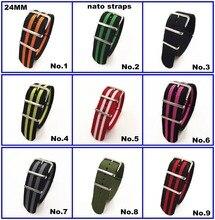 Hot koop! groothandel 10 Stks/partij Hoge kwaliteit 24 MM Nylon Horloge band NAVO bandjes zulu bandjes waterdicht horlogebandje 10 kleuren