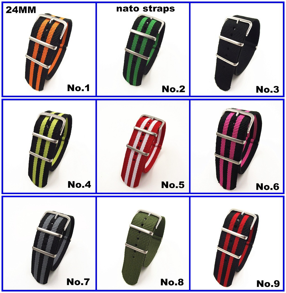 Hot sale ! Wholesale 10PCS/lot High quality 24MM Nylon Watch band NATO straps zulu straps waterproof watch strap -10 colors