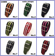 Hot sale ! Wholesale 10PCS/lot High quality 24MM Nylon Watch band NATO straps zulu straps waterproof watch strap  10 colors