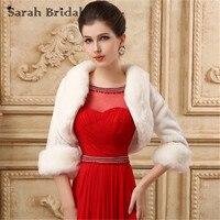 Long sleeve wedding jackets Bride cape winter faux fur stoles ivory shawl wraps bridal bolero women wedding coat 17020 In Stock
