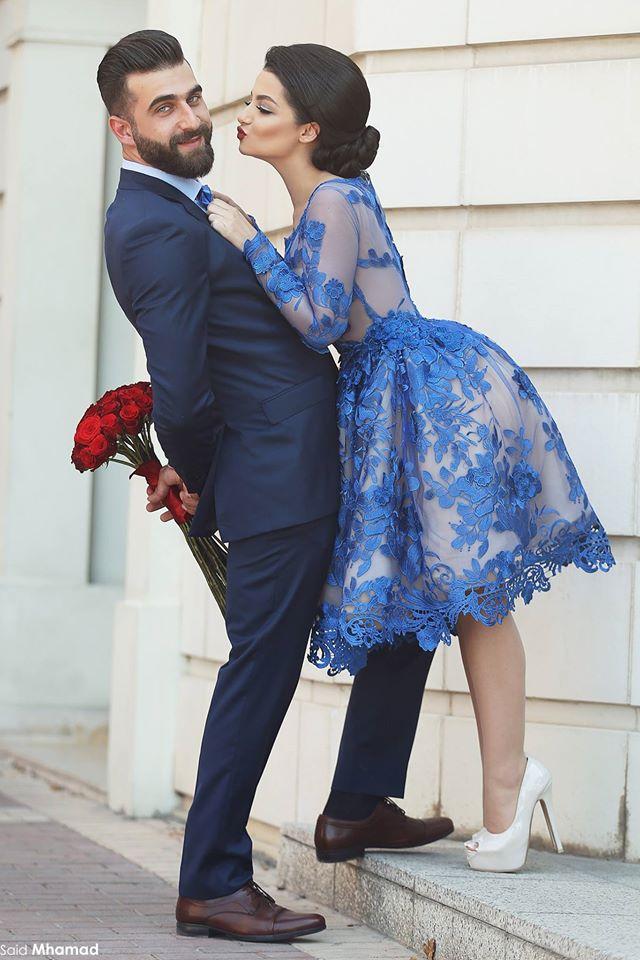 Image 2 - Royal Blue 2018 Elegant Cocktail Dresses A line Long Sleeves Appliques Lace Party Plus Size Homecoming Dresses-in Cocktail Dresses from Weddings & Events