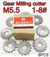 M5.5 Modulus PA20 graden NO.1-NO.8 8 stks/set HSS Versnelling frees Gear snijgereedschap Gratis verzending
