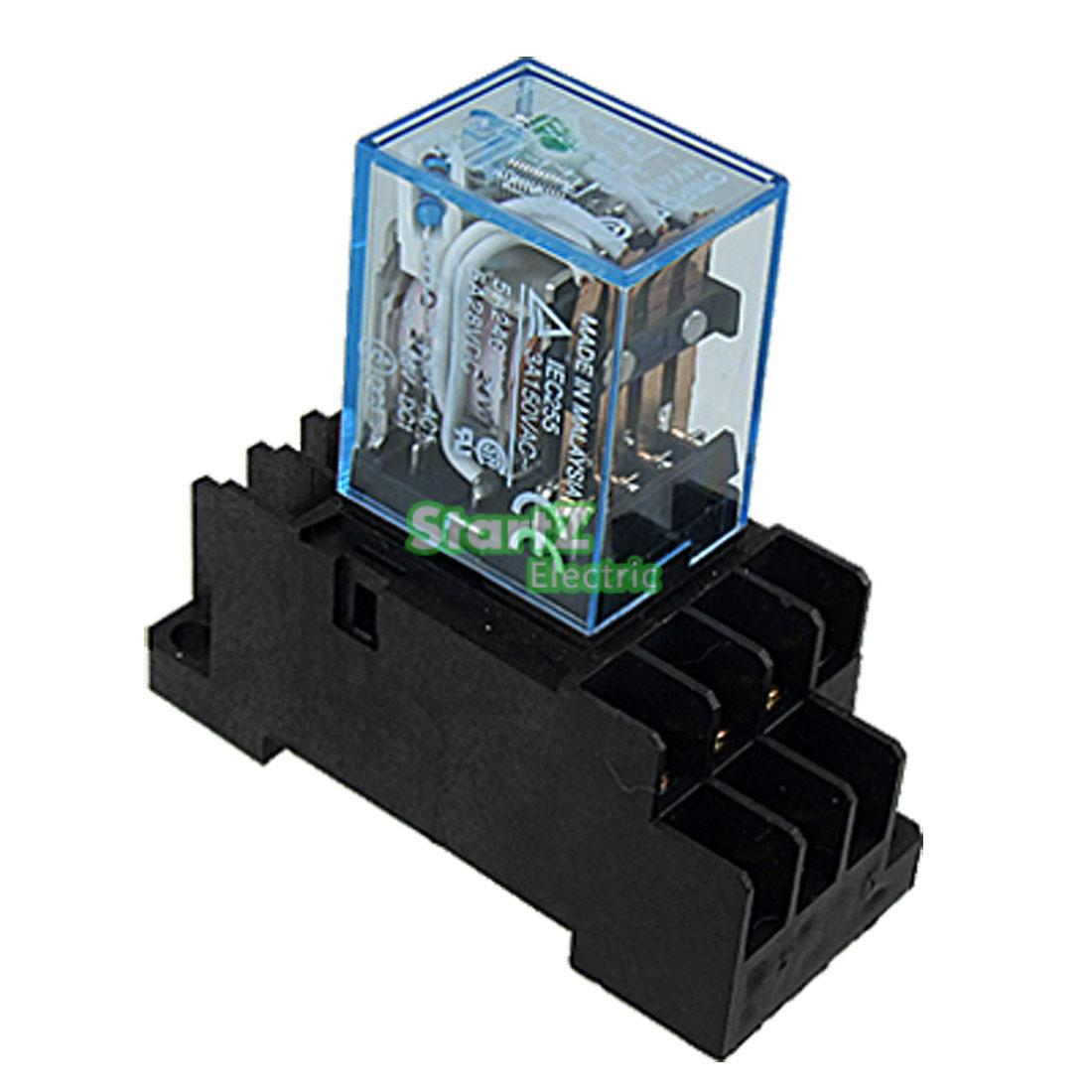 Pcs Relay Omron My Nj V Ac Small Relay A Pin Coil Dpdt With Socket Base on 8 Pin Dpdt Relay