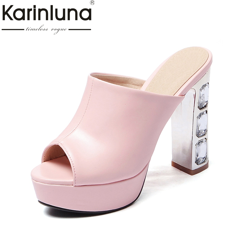 KARINLUNA Rhinestone High Heel Women Summer Shoes 2017 New Fashion Sweet Open Toe Platform Sandals Big Size 33-43 bonjomarisa 2017 fashion summer sandles big size 32 43 cutout open toe thick heel less platform women shoes ladies footwear