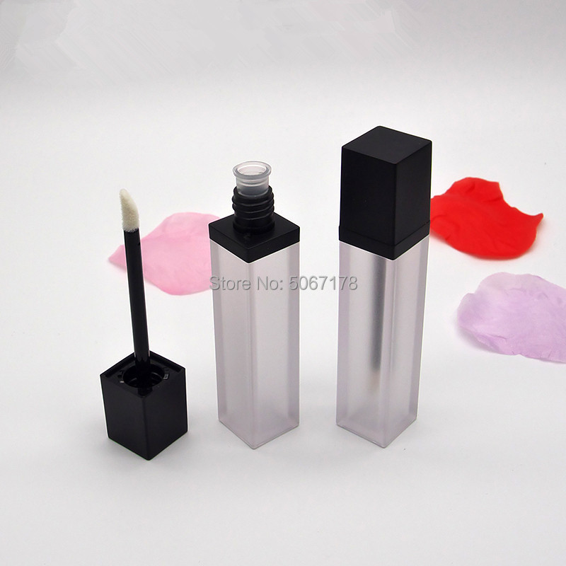 7ml Frosted Lip Gloss Bottle With Black Cap, Empty Square Lip Gloss Tube, Portable DIY Lipgloss Packing Container 10/30/50pcs image