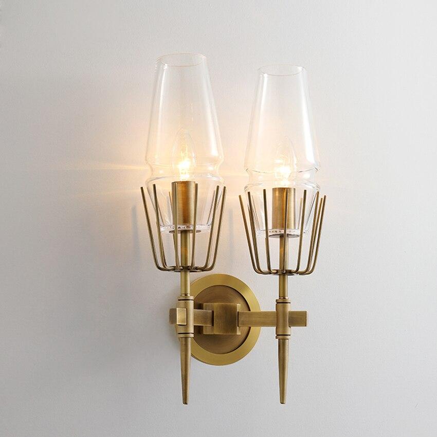 Постмодерн промышленный настенный светильник 1/2 головок стеклянный светодиодный стенное бра свет лестница ресторана прохода светильник с... - 4
