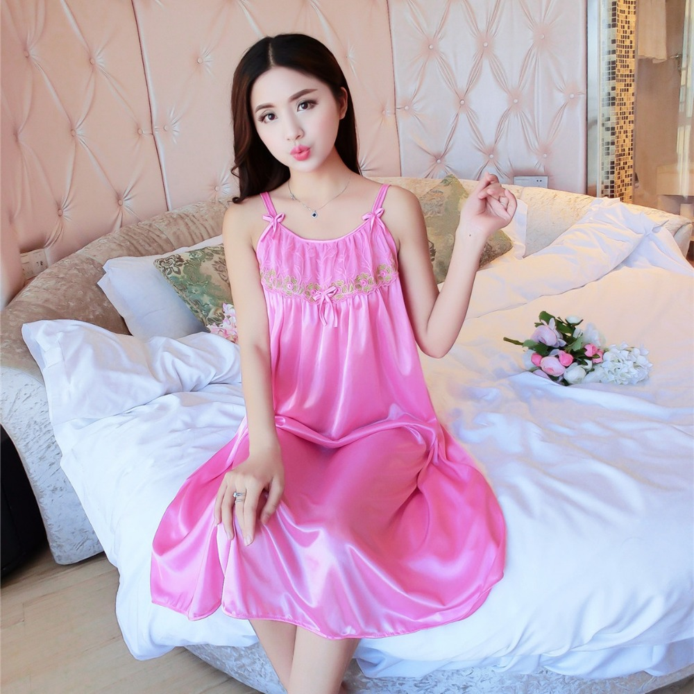 Fdfklak Women Silk Satin Nightgown Lace Nightdress 2017 Sexy Nighty Dress  Sleeveless Sleepwear Nightwear For Summer Styles E0889-in Nightgowns    Sleepshirts ... 2f58326f9