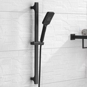 Image 2 - Barra deslizante de chuveiro, barra de alta qualidade preta para parede, conjunto de trilho deslizante ajustável, 3 funções, chuveiro, estilo minimalista